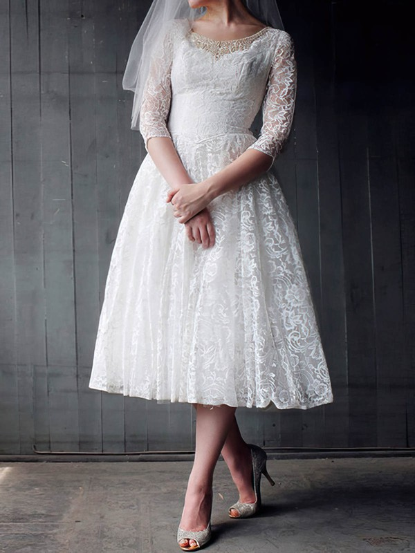 Scoop Neck 3/4 Sleeve Pearl Detailing Tea-length White Lace Wedding Dress #PDS00020958