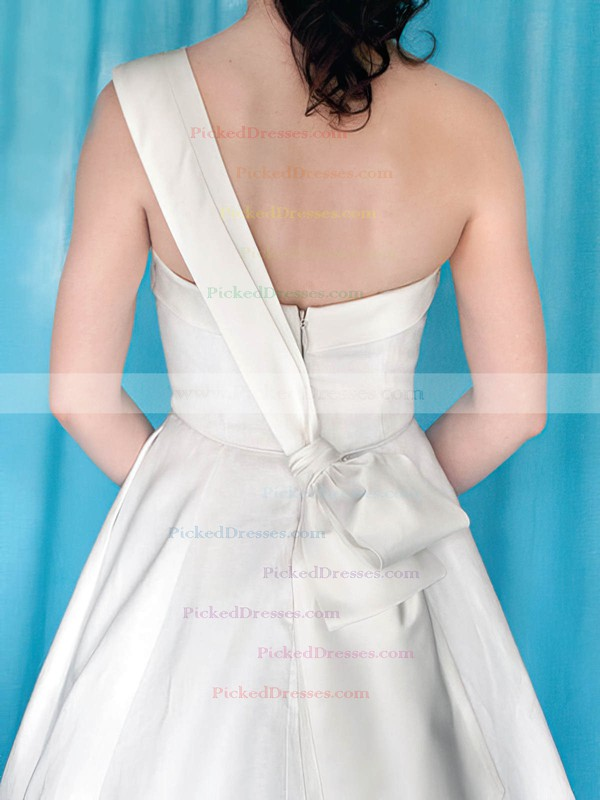 Coolest One Shoulder White Satin with Bow Sweep Train Wedding Dress #PDS00020959