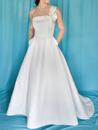 Coolest One Shoulder White Satin With Bow Sweep Train Wedding Dress PDS00020959
