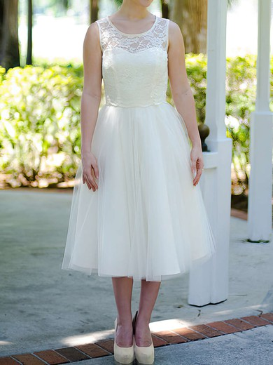 Nicest Ivory Tulle Lace Scoop Neck Tea-length Wedding Dresses #PDS00020974