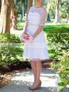 Knee-length Tulle with Sashes/Ribbons Scoop Neck Modest 1/2 Sleeve Wedding Dresses #PDS00020975