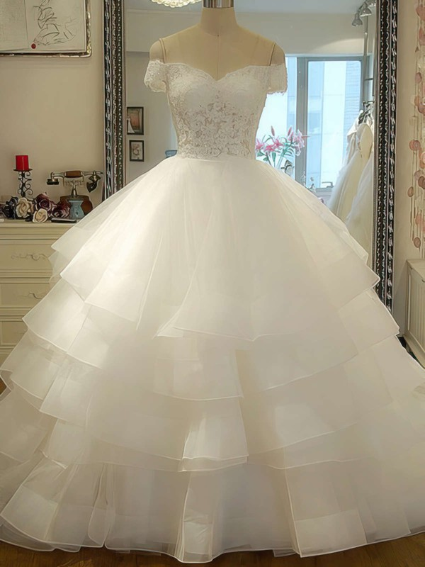 Designer Ivory Organza Tiered Court Train Off-the-shoulder Wedding Dress #PDS00020986