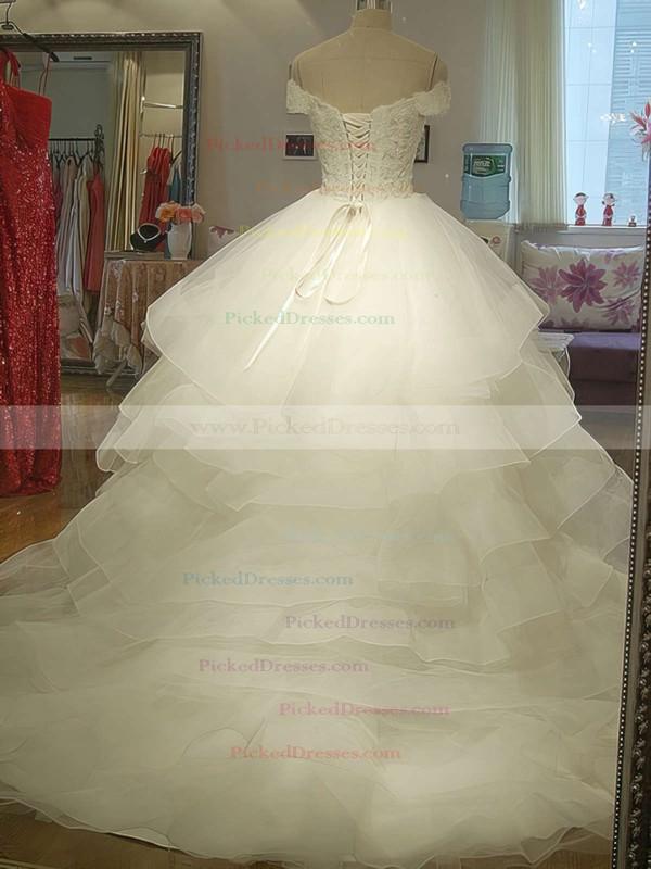 Designer Ivory Organza Tiered Court Train Off-the-shoulder Wedding Dress #PDS00020986