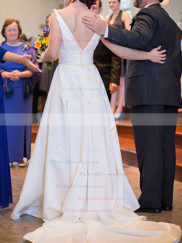White Simple Satin with Ruffles A-line V-neck Wedding Dresses #PDS00020991