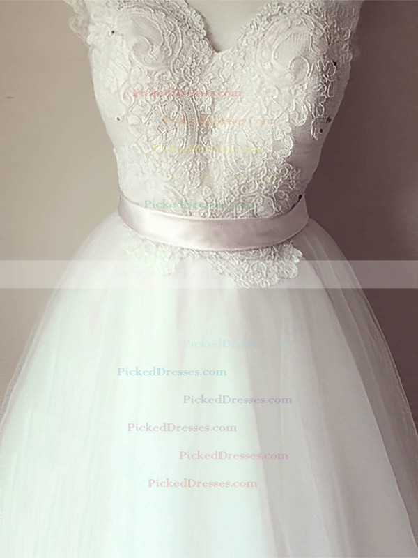 A-line White V-neck Tulle Lace with Sashes/Ribbons Cap Straps Wedding Dresses #PDS00020993