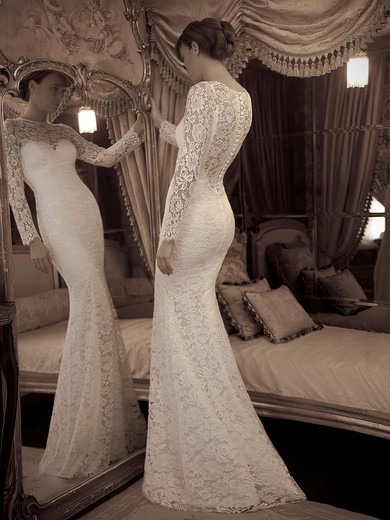 Online Trumpet/Mermaid Ivory Lace Scoop Neck Long Sleeve Wedding Dresses #PDS02016861