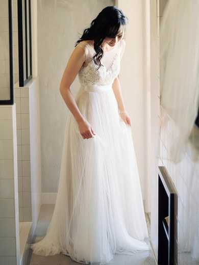 Promotion Scoop Neck Tulle with Appliques Lace Ivory Wedding Dress #PDS02016882