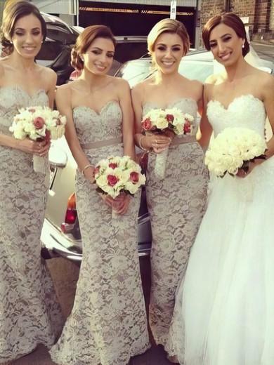 Light Slate Gray Lace Sashes/Ribbons Trumpet/Mermaid 2016 Bridesmaid Dresses #PDS01012222