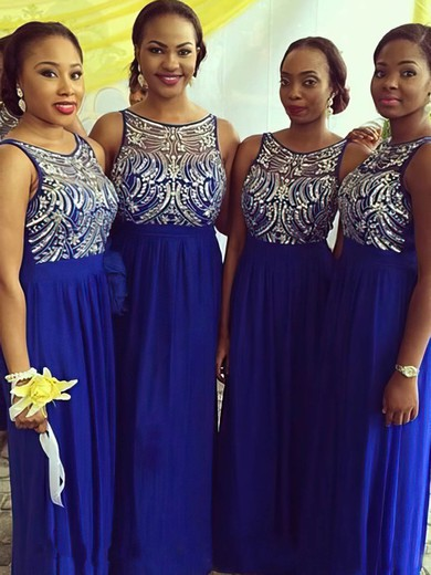 Royal Blue Chiffon Tulle with Beading Scoop Neck Elegant Bridesmaid Dresses #PDS01012227