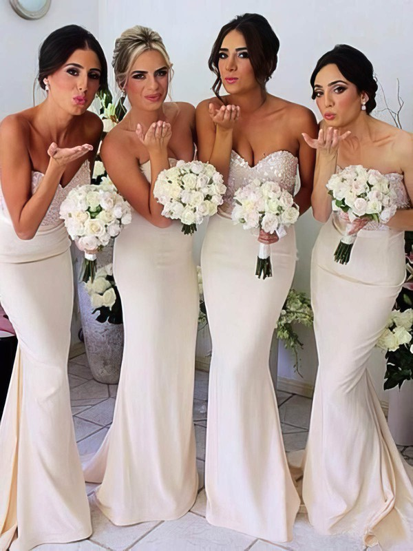 Best Ivory Silk-like Satin Sequined Sashes/Ribbons Trumpet/Mermaid Bridesmaid Dresses #PDS01012230