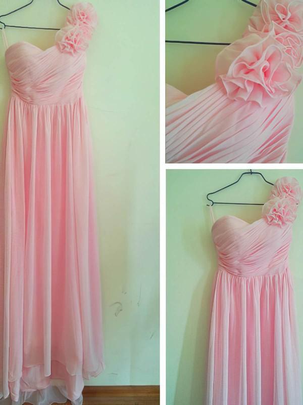 Chiffon Sheath/Column Sweetheart Floor-length Flower(s) Bridesmaid Dresses #PDS02016880