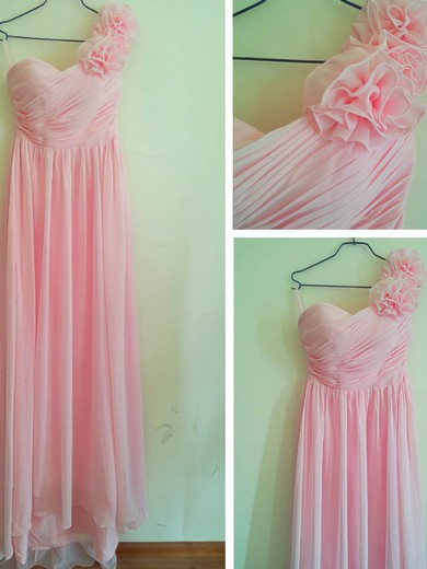 Chiffon Sheath/Column Sweetheart Floor-length Flower(s) Bridesmaid Dresses #PDS02016880
