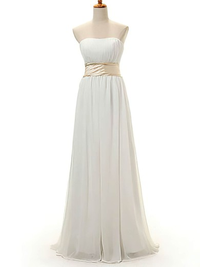 Chiffon A-line Strapless Floor-length Bow Bridesmaid Dresses #PDS02016950