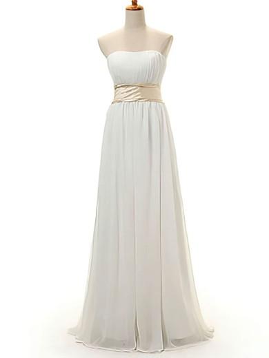 Chiffon A-line Strapless Floor-length Bow Bridesmaid Dresses #PDS02016950
