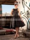 Satin A-line Scoop Neck Knee-length Ruffles Bridesmaid Dresses #PDS02018097