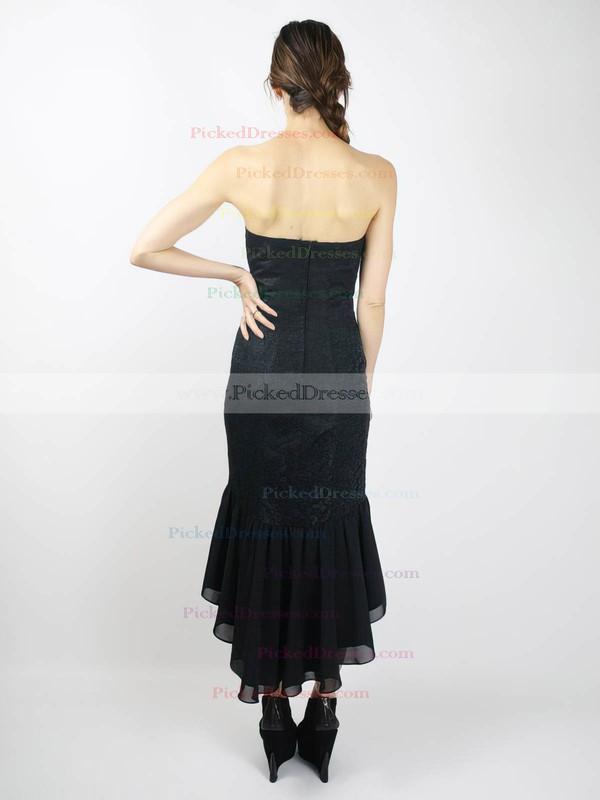 Lace Chiffon Satin Sheath/Column Sweetheart Asymmetrical Ruffles Bridesmaid Dresses #PDS02018098
