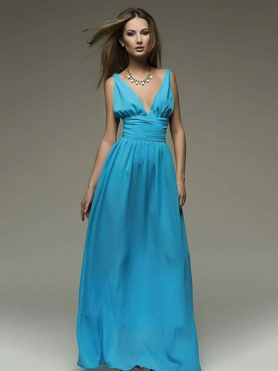 Chiffon A-line V-neck Floor-length Ruffles Bridesmaid Dresses #PDS02018110