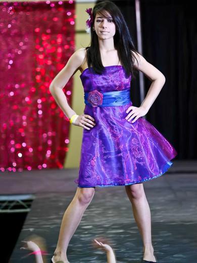 Organza Elastic Woven Satin A-line Strapless Short/Mini Sashes / Ribbons Bridesmaid Dresses #PDS02018113