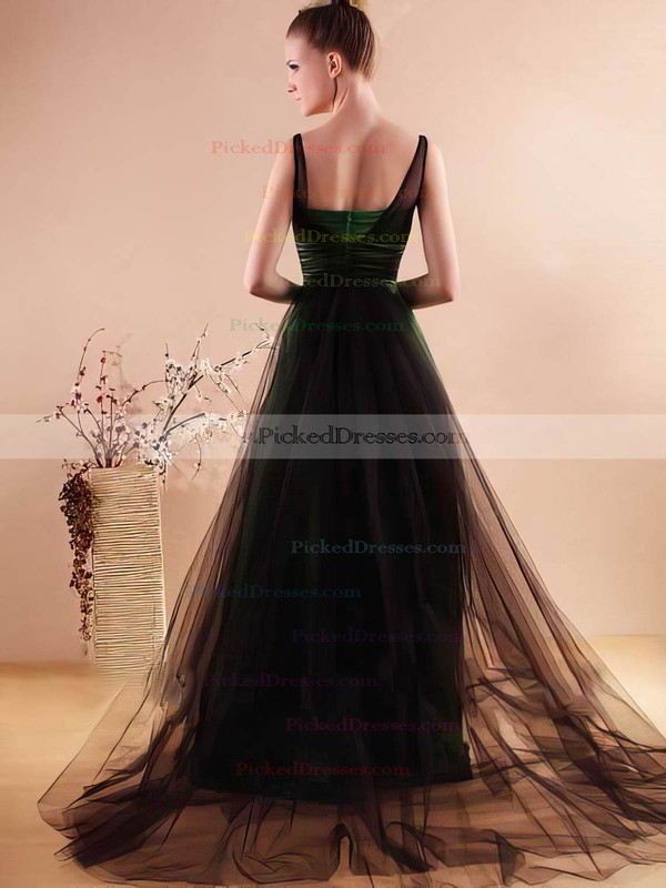 Tulle Elastic Woven Satin A-line Scoop Neck Watteau Train Beading Bridesmaid Dresses #PDS02018136