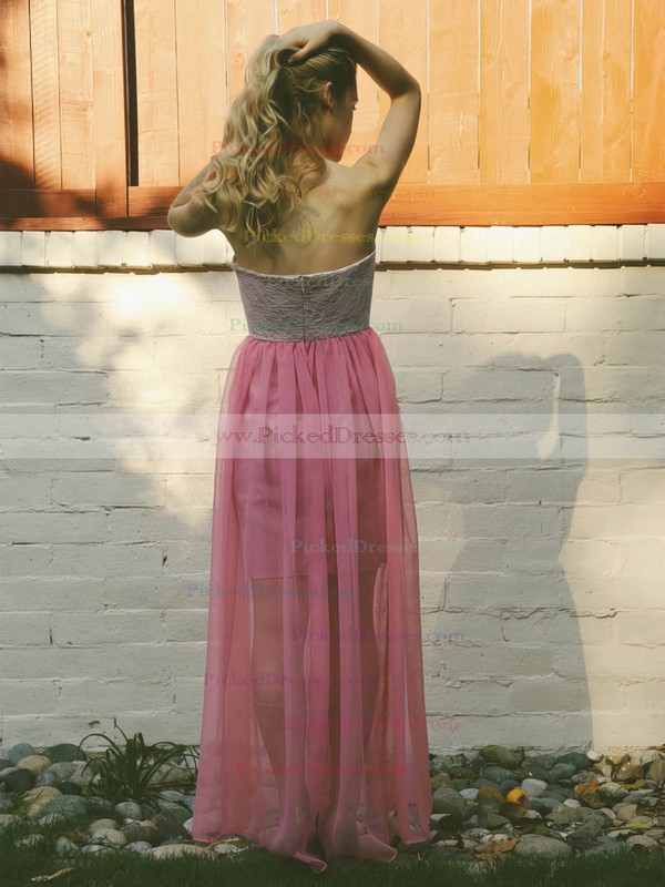 Lace Chiffon A-line Sweetheart Floor-length Ruffles Bridesmaid Dresses #PDS02018140