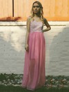 Lace Chiffon A-line Sweetheart Floor-length Ruffles Bridesmaid Dresses #PDS02018140