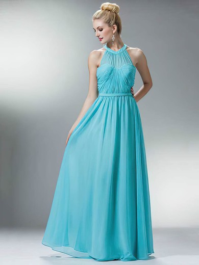 Chiffon A-line Scoop Neck Floor-length Sashes / Ribbons Bridesmaid Dresses #PDS02018167