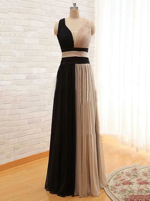 Chiffon Satin Tulle A-line V-neck Floor-length Ruffles Bridesmaid Dresses #PDS02018168