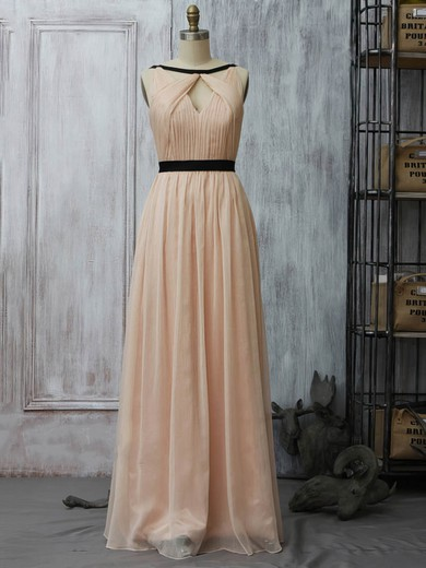 Chiffon A-line Scoop Neck Floor-length Sashes / Ribbons Bridesmaid Dresses #PDS02017961