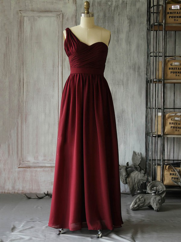 Chiffon A-line One Shoulder Floor-length Ruffles Bridesmaid Dresses #PDS02017962