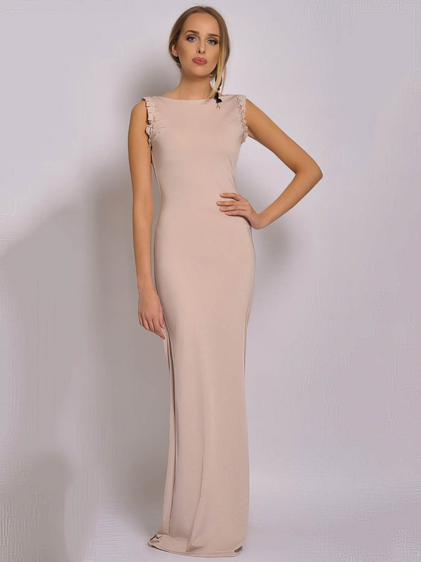 Chiffon Sheath/Column Square Neckline Floor-length Ruched Bridesmaid Dresses #PDS02018040