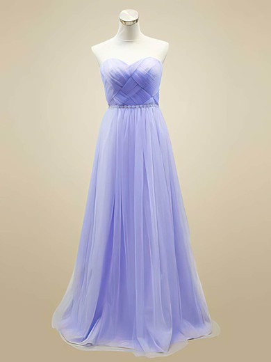 Tulle A-line Sweetheart Floor-length Beading Bridesmaid Dresses #PDS02018044
