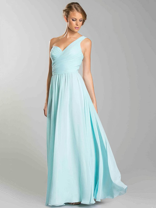 Chiffon A-line Sweetheart Floor-length Ruffles Bridesmaid Dresses #PDS02018054