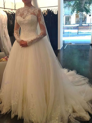 Chapel Train Ivory Tulle Lace with Beading Ball Gown Long Sleeve Wedding Dress #PDS00021194