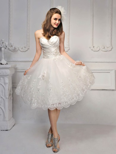 Princess Satin Lace Sweetheart Beading Up Knee Length Wedding Dress Pds00017014